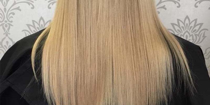 Straightened blonde hair